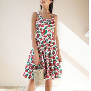 NWT Strawberry Print Vintage Style Dress Size M/L